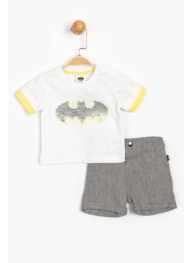 Batman  Pul Baskılı Şortlu Takım 15585 Beyaz